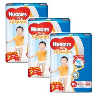 Bộ 3 tã quần Huggies Dry Pants XL62 (11 - 16kg) + Tặng 7 miếng /gói