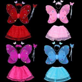 Bộ cánh bướm thiên thần kèm chân váy cho bé yêu(xanh)