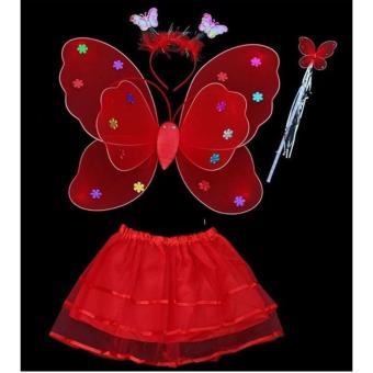 Bộ cánh bướm thiên thần phát sáng kèm chân váy cho bé yêu(đỏ)