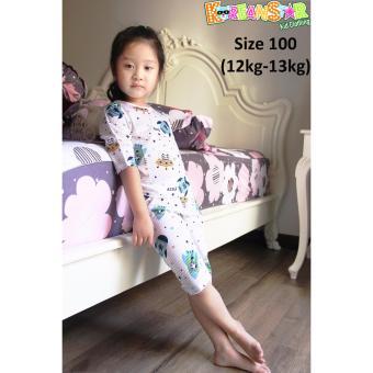 Bộ quần áo trẻ em lửng, thun Jacquard 100% cotton Hàn Quốc (KSL006)
