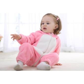 Hình thu nhỏ Bodysuit Bé Thỏ Hồng Mềm Mại lót bông có nón Đáng Yêu cho bé con 6-12 tháng