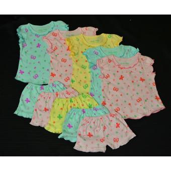 Combo 5 bộ quần bèo áo tay phồng màu bướm size6