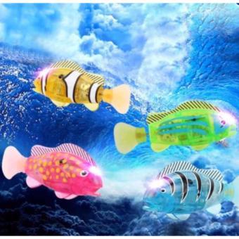 Con cá đồ chơi lắp pin tự bơi trong nước có đèn led ROBO FISH