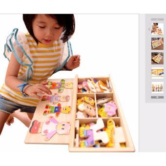 Đồ chơi bằng gỗ ghép hình gia đình nhà gấu cho bé