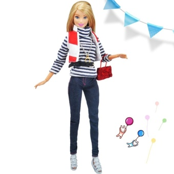 Doll Fashion Clothes Stripe T-shirt Jeans with Handbag Set CasualWear - intl
