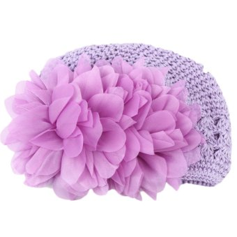 Fancyqube Baby Girl Toddlers Handmade Cap Flower Crochet KnittedPurple - intl