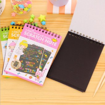 Kids Children Educational Toy Fun DIY Doodling Scratch PaintingBook with Wooden Stylus 10x14cm Size S Random Delivery - intl