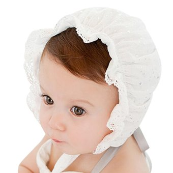 Kids Girls Baby Hat Beanie New Lace Stars Caps(White) - intl