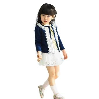 Lovely Girls Round Collar Long Sleeve Cardigan Coat(Blue) - intl