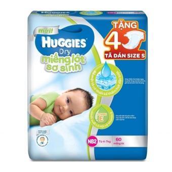 Miếng lót sơ sinh Huggies Newborn 2 N60 + Tặng 4 miếng tã dán size S