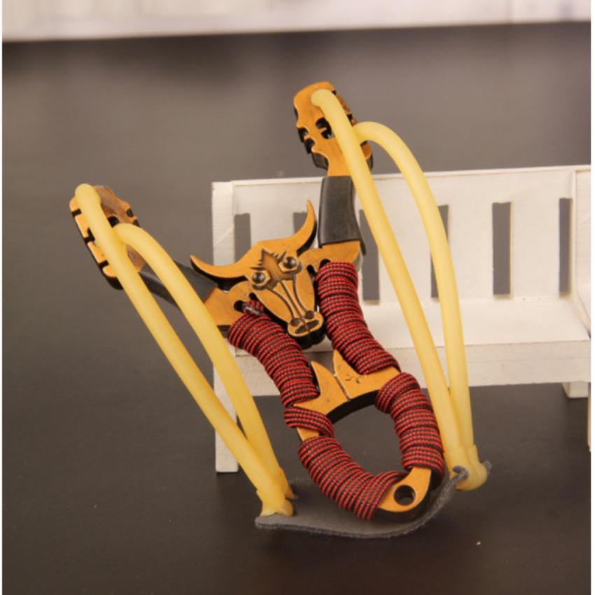 Hình ảnh Ná Đầu Trâu tay cầm kim loại 3 dây thun trợ lực ( giao hàng mầu ngẫu nhiên )