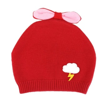 Newborn Baby Crown Knitted Cap Knit Winter Rabbit Ears Cloud Leaf Hats - intl