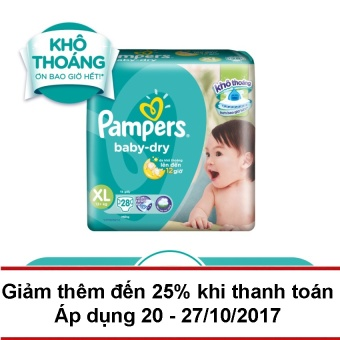 T dn Pampers Baby Dry size XL 28 ming