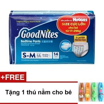 Tã quần ban đêm HuggiesGoodnites dành cho bé lớn (17-29kg) – Size SM (XXXL) + Tặng thú nằm cho bé