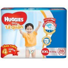 Tã quần Huggies Dry Pants Jumbo XXL28 (15 – 25kg) + Tặng 4 miếng /gói