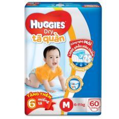 Tã quần Huggies Dry Pants M60 (6 – 11kg) + Tặng 6 miếng/gói