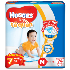 Tã quần Huggies Dry Pants M74 (6 – 11kg) + Tặng 7 miếng /gói