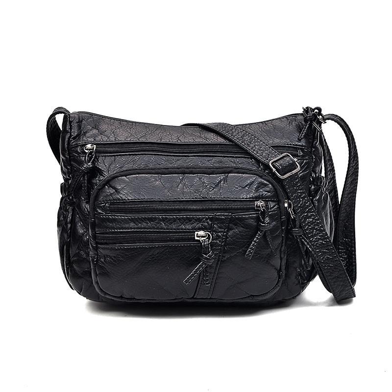 Detail Gambar 2018 model baru modis tas selempang Ibu tas bahu tunggal Kulit Bisa Dicuci Kulit lembut wanita tas kecil netral casual tas wanita Terbaru