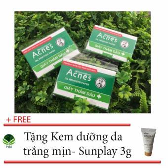 Bộ 200 giấy thấm dầu Acnes - Ngăn ngừa mụn + Tặng Kem dưỡng da trắng mịn Sunplay 3g