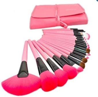 Bộ 24 chiếc cọ trang điểm cùng túi đựng - Màu hồng - intl