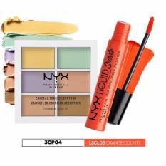 Nơi Bán Bộ sản phẩm kem che khuyết điểm, tạo khối NYX Professional Makeup Conceal Correct Contour Palette 3CP04 và son kem lì cam tươi LSCL05 Orange County