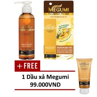 Bộ sản phẩm ngăn lão hóa tóc Megumi (gồm 01 Tinh chất Megumi 50ml và 01 Dầu gội Megumi 175g) + TẶNG 01 Dầu xả Megumi 130g.