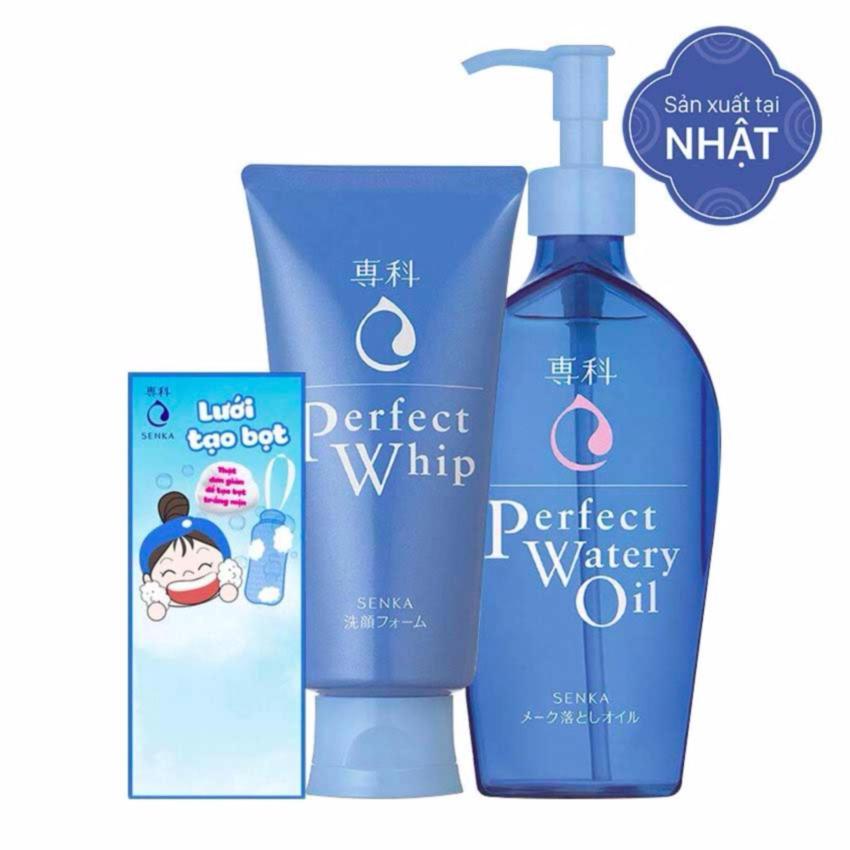 Hình ảnh Bộ sản phẩm: Sữa Rửa Mặt Senka Perfect Whip 120g + Dầu Tẩy Trang Senka Perfect Watery Oil 230ml + Lưới tạo bọt