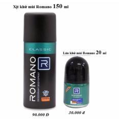 Bộ Sản phẩm Xịt ngăn mùi toàn thân cao cấp Romano 150 ml + Lăn khử mùi cao cấp  Hương nước Hoa Romano  20 ml
