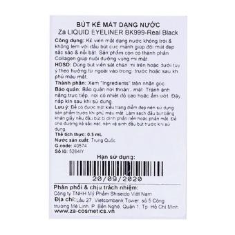 Bút Kẻ Mắt Dạng Nước Za Liquid Eyeliner Bk999-Real Black 0.5 Ml - 5
