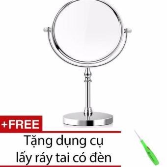 Gương trang điểm 2 mặt cỡ lớn + Tặng dụng cụ lấy ráy tai có đèn