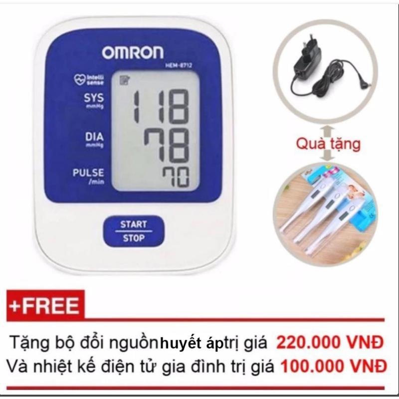 Nơi bán Máy đo huyết áp bắp tay Omron HEM-8712 (Trắng phối xanh) + Tặng bộ đổi nguồn máy đo huyết áp + Nhiệt kế điện tử