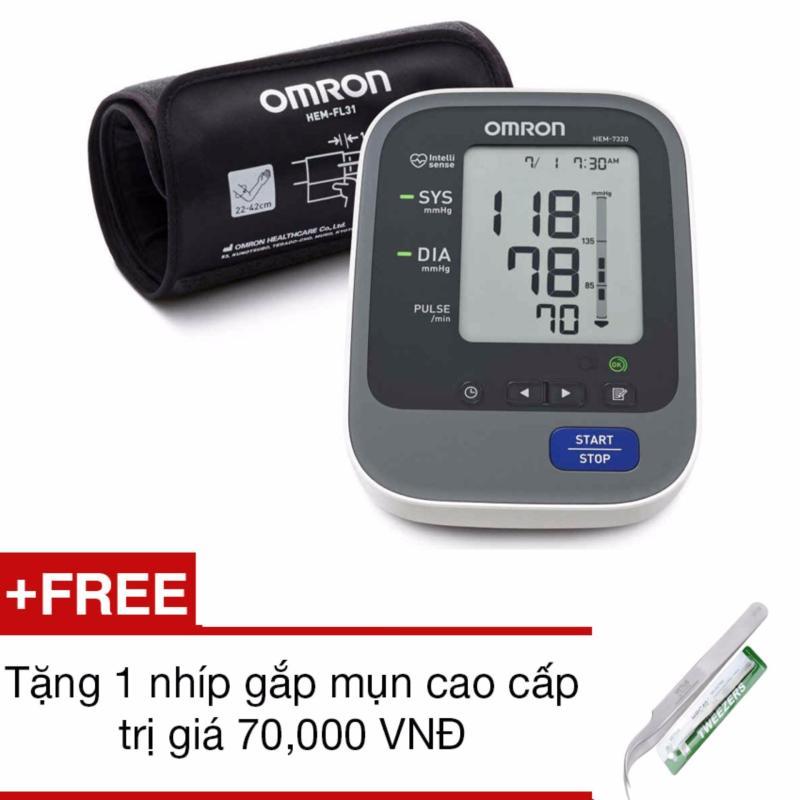 Nơi bán Máy đo huyết áp bắp tay tự động Omron HEM-7320 (Trắng phối xám)+Tặng 1 nhíp gắp mụn