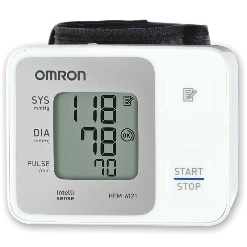 Nơi bán Máy đo huyết áp cổ tay Omron HEM-6121 (Trắng) + Tặng nhiệt kế thủy ngân