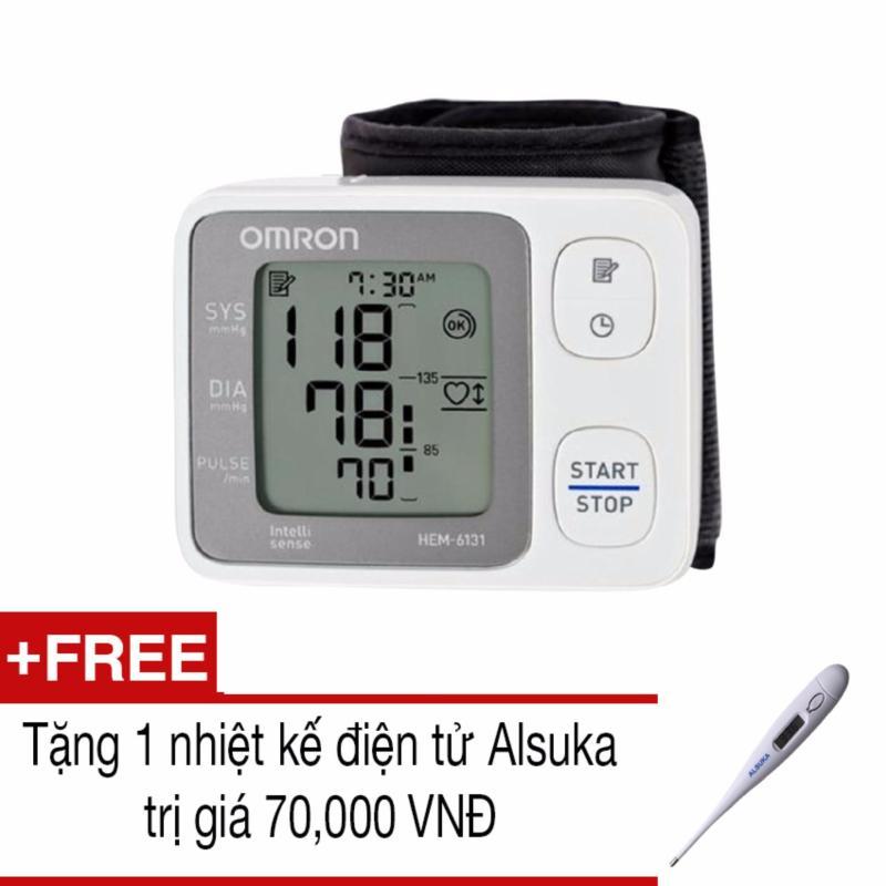 Nơi bán Máy đo huyết áp cổ tay tự động Omron HEM-6131 (Trắng)+Tặng 1 nhiệt kế Alsuka