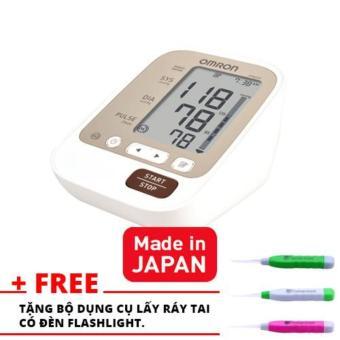 Máy đo huyết áp Omron JPN 600 - Tặng kèm dụng cụ lấy ráy tai có đèn