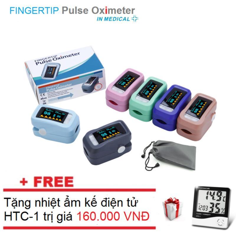 Máy đo nồng độ Oxy và nhịp tim SPO2 + Tặng nhiệt ẩm kế điện tử gia đình bán chạy