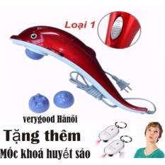 Máy mát-xa cầm tay cá heo 3 đầu (Đỏ) + Móc khóa huyết sáo