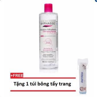 Nước tẩy trang Byphasse Micellar Make-up Remover Solution 500ml + Tặng Bông tẩy trang