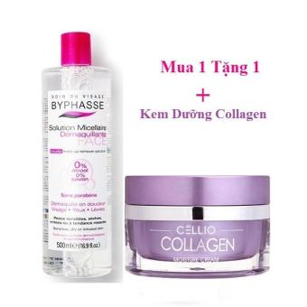 Nước tẩy trang Byphasse Micellar Make-up Remover Solution 500ml + Tặng Kem dưỡng da Collagen Cellio 50g - Nhungshop