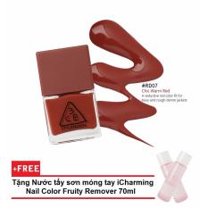Sơn Móng Tay 3CE Mood Recipe Long Lasting Nail Lacquer 10ml #RD07 Chic Warm Red + Tặng Nước tẩy sơn móng tay iCharming Nail Color Fruity Remover 70ml (Hàn Quốc)