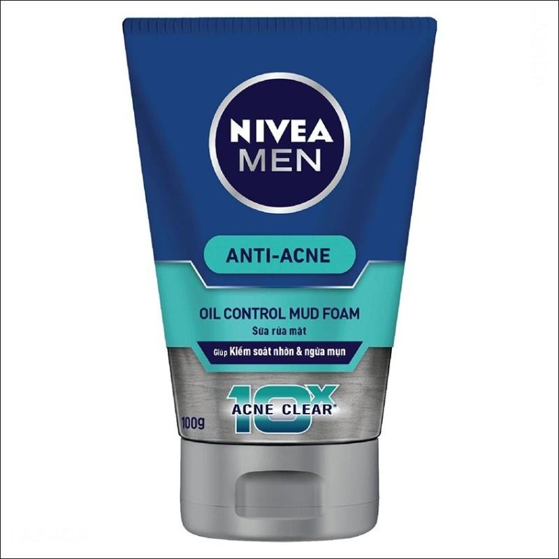 Sữa rửa mặt bùn khoáng mát lạnh NIVEA Men 10X Acne Clear Cooling Mud Face Wash 100g