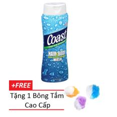 Sữa tắm gội Coast dành cho nam 532ml tặng kèm 1 bông tắm cao cấp