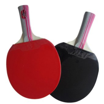 Chỗ bán 360WISH One Pair Long Handle Oxford Rubber Table Tennis Racket Set with 3 Table Tennis Balls – Red + Black – intl