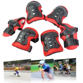 6PCS New Children Wrist Elbow Knee Pads Tool Set Red - intl