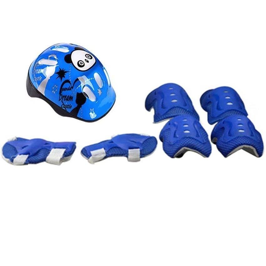7pcs Kid Safety Set Helmet Protective Gear Elbow Wrist Knee Pads For Skateboard Roller Skating Cycling Sport (Blue) - intl