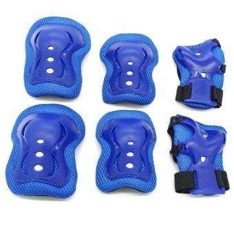 7pcs Kid Safety Set Helmet Protective Gear Elbow Wrist Knee Pads For Skateboard Roller Skating Cycling Sport (Blue) - intl