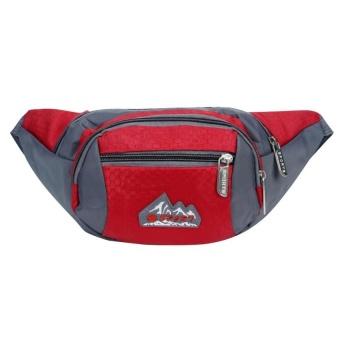 Bang Mens Outdoor Running Sports Zipper Waist Bag Pouch Red - intl