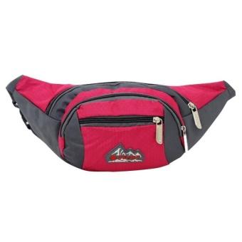 Bang Mens Outdoor Running Sports Zipper Waist Bag Pouch Rosered - intl