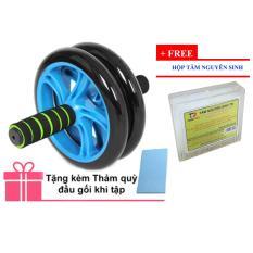 Bánh xe lăn tập cơ bụng AB Wheel + Thảm quỳ đầu gối khi tập+ Tặng hộp tăm nguyên sinh (Xanh lá thẫm)
