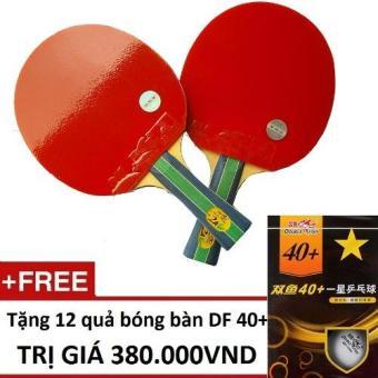 Bộ 2 vợt bóng bàn Double Fish 2AC + Tặng 12 quả bóng Double Fish (Đỏ)